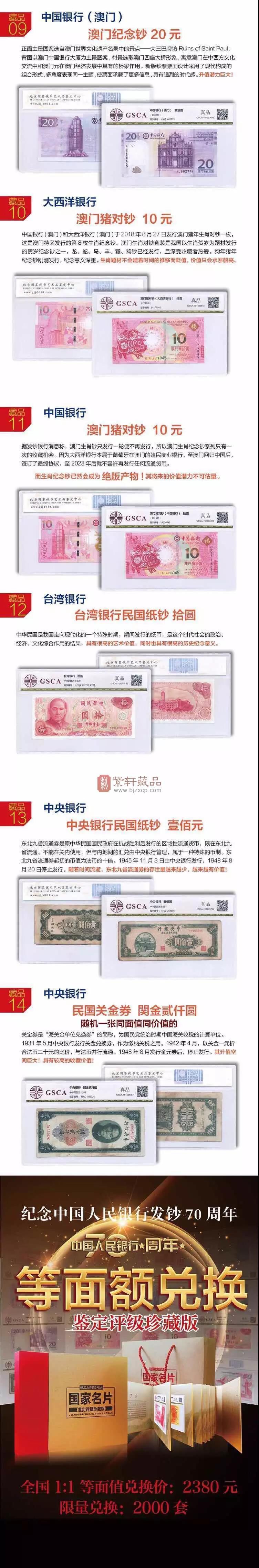 《国家名片》鉴定评级珍藏版  九大行纪念钞  1:1等面额兑换